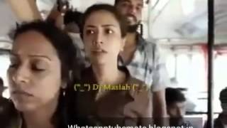 Funny situation in a bus between boy and girl