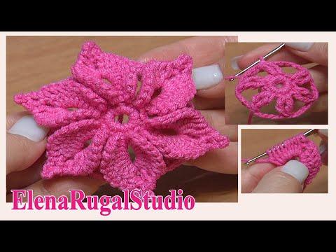 Crochet 3D Flower Tutorial 46 Fleur au crochet facile à réaliser
