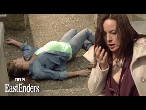 Mad May vs. Dawn catfight Dawn pushed down stairs EastEnders BBC