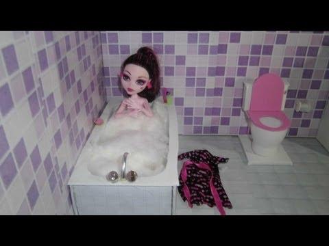 Como fazer um banheiro (banheira) para boneca Monster High, Barbie, Pullip e etc