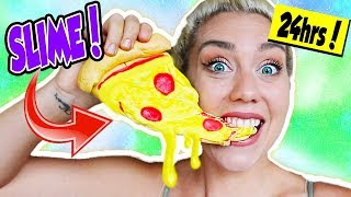 I ATE ONLY SLIME FOR 24 HOURS! EDIBLE CANDY SLIME FOOD 24 CHALLENGE!