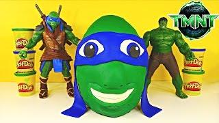 Giant TMNT Surprise Egg Play Doh Teenage Mutant Ninja Turtle Huge Leonardo Huevo Sorpresa