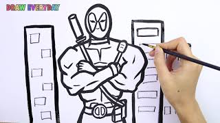 How To Draw and learn Coloring Dead Pool (Deadpool 2 )  in Cartoon || Draw Everyday