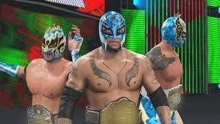 WWE 2K16 Mods - Super Lucha Dragons - Rey Mysterio, Kalisto & Sin Cara BLUE Camo Attires Mod