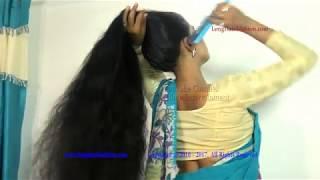 Desi Woman with Dense Long Hair Play