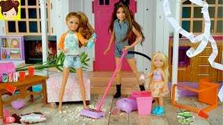 Barbie Se Va de Viaje y Sus Hermanas Tienen Una Fiesta Desastrosa En La Casa de Sueños Barbie