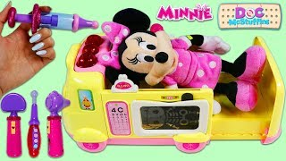 Disney Minnie Mouse Gets a Check Up from Doc McStuffins Toy Hospital Emergency Ambulance Playset!