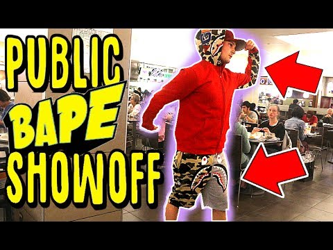 WEARING & FLEXING FAKE BAPE IN THE MALL!! (COPS CALLED)