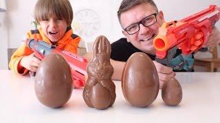 Nerf vs Big Chocolate Eggs FUN - Kinder Easter Bunny TOYS