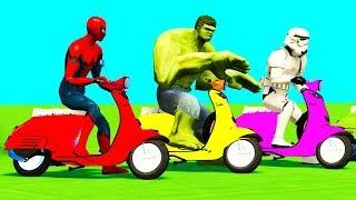 COLOR MOTOR BIKES JUMP Spiderman Cars Superheroes Cartoon 3D Kids & Children Nursery Rhymes