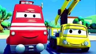 Troy lokomotywa i Dźwignica w Miasto Samochodów | Samochody bajka o maszynach dla dzieci po polsku