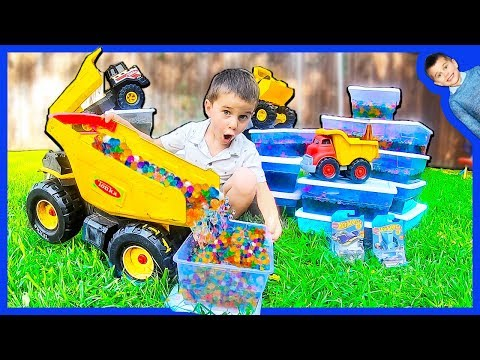 Toy Construction Trucks Help with Orbeez and Hot Wheels GiVEAWAY