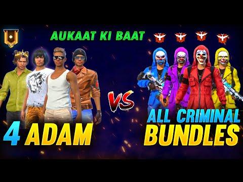4 DJ Adam Vs 4 Pro Criminals 😱 Garena Free Fire FireEyes Gaming