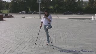Amputee woman Natalie in Stuttgart on crutches