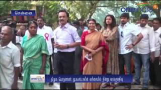 Stalin has casted his vote at a polling booth in Teynampet