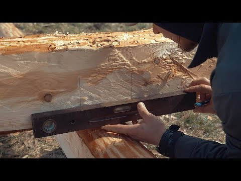How To Build A Log Cabin Simple Straight Lap Notch From Hewn Logs