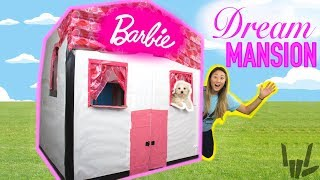 DIY LIFE SIZE BARBIE BOX FORT DREAM HOUSE!! Learn How to Make a Cardboard Dollhouse