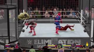 Superman vs Spiderman vs Deadpool vs Hulk vs Batman vs Flash   WWE 2K16
