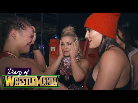 RONDA ROUSEY S EMOTIONAL CELEBRATION with The Bella Twins Diary of WrestleMania