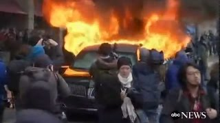 Limo Set on Fire at Trump Inauguration Parade: CAUGHT ON TAPE