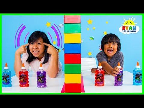 Twin Telepathy Slime Challenge Ryan vs. Mommy