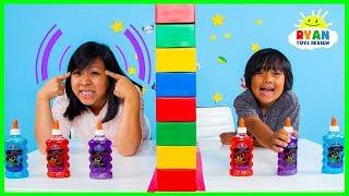 Twin Telepathy Slime Challenge Ryan vs. Mommy!