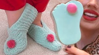 How to Knit SLIPPERS   Froze Toes Miranda Sings Haters Back Off DIY Craft