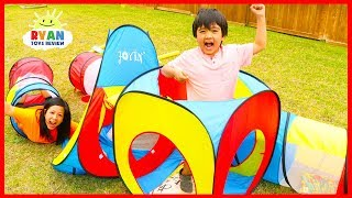 Kids Obstacle course play tent with Ryan vs Mommy!
