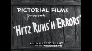 HITS, RUNS & ERRORS  1937 BASEBALL FILM w/ JACK COFFEY & FORDHAM UNIVERSITY 44804