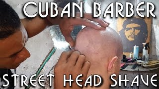 💈 Cuban Street Barber - Head Shave and little massage - ASMR no talking - Honeymoon