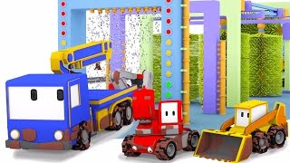 Tiny Trucks Car Wash - Learn with Tiny Trucks : bulldozer, crane & excavator | Cartoon for toddlers