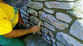 HOW TO BULD NATURAL STONE WALL, RETAINING ROCK BOULDERS DETAIL MASONRY ADVICE TUTORIAL CONSTRUCTION