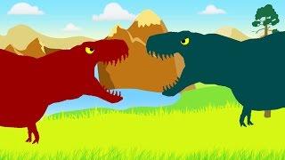 Веселые Динозаврики. Тираннозавр Рекс против Тираннозавра Рекса. Динозавры мультфильм