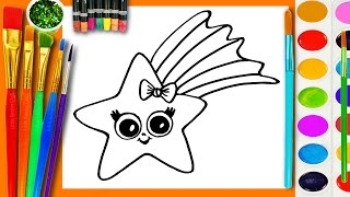 Learn to Draw and Coloring for Kids and Paint a Star Coloring Book Page to Color with Watercolor