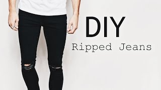 DIY Ripped Jeans   OOTD Men s Fashion Street Style   SuperWednesday ✂️