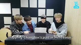 Stray kids react to Maknae Jeongin rapping to Changbin's part in Hellevator