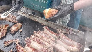 """Grilled Sausages, """"Caponata"""", Onions and Cheese from Sicily, Italy. London Street Food"""