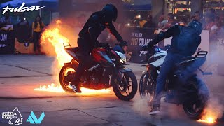 Pulsar NS 200  STUNTS   Fire Show   Ghost Ryderz
