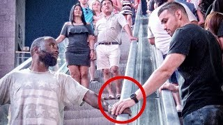 TOUCHING STRANGERS HANDS ON ESCALATOR IN LAS VEGAS!!!