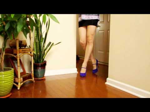 Legs in Blue Mary Jane Heels