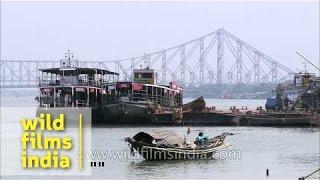 Rabindra Setu as seen from Babu Ghat - Kolkata