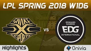 SS vs EDG Highlights Game 1 LPL Spring 2018 W1D6 Snake vs Edward Gaming by Onivia