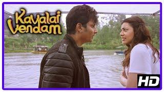 Kavalai Vendam Movie Scenes   Jiiva reveals truth   Kajal learns Manthra is hospitalised   Manobala