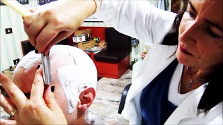 💈 Woman barber - Straight Razor Head Shave with massage and hot towel - ASMR sounds