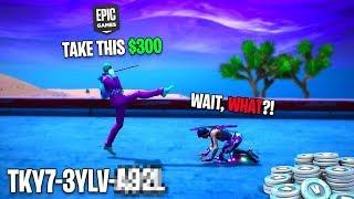 I sent FREE Vbucks to EVERYONE i killed in the Lobby... I AM BROKE NOW... Fortnite