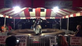 Funny Laffy Taffy mechanical bull riding video from Nativity Church Fair Brandon Florida Pt 2