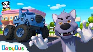 *NEW*나쁜 늑대 잡아요!|몬스터 경찰차 출동! |소방차|몬스터차동요|상어|베이비버스 동요모음|BabyBus