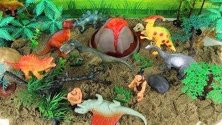 DIY VOLCANO ERUPTION with Lava. Learn Dinosaurs Volcano Science Kit for Kids Mini beach Kinetic Sand