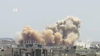 القصف بالبراميل المتفجرة على حي طريق السد ومخيم درعا - الجمعة 9--6-2017