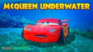LIGHTNING MCQUEEN UNDERWATER Rescue w/ Spiderman, Hulk and Wolverine Cartoon for Kids